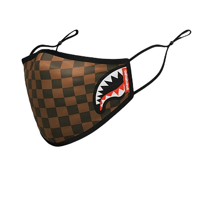 sprayground brown checkered face mask