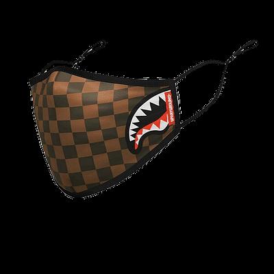 sprayground brown checkered face mask