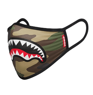 sprayground white shark logo camo mask