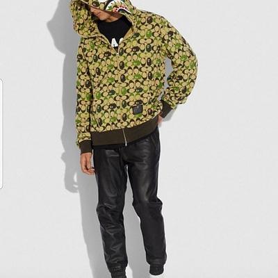 Bape X Coach Collaboration Fashion Hype Gear Zip Up Hoodie