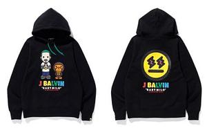Bape & Jbalvin Collaboration Hoodie Black Color