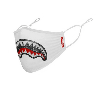 sprayground shark logo glitter facemask white
