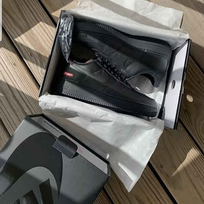 Supreme Nike Air Force 1 Collab Shoes Size 9 Mens Black New 100% Authentic