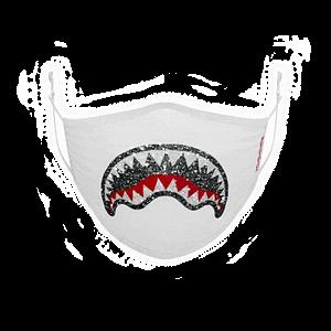 sprayground shark logo glitter facemask white 1