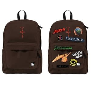 Travis Scott Cactus Jack Backpack With Patch Set Brown Color