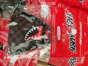 sprayground brown checkered face mask 3